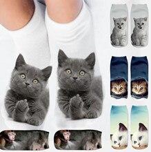 Karikatür kedi çorap 3D kedi baskılı pamuk halhal çorap düşük kesim spor çorap sevimli tasarımcı kadın kız rahat çorap