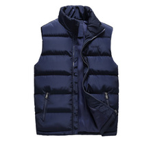 Winter Men's Sleeveless Jacket Waistcoats Fashion Solid Thicken Cotton Vest Autumn Warm Vest Winter Male Waistcoats недорого