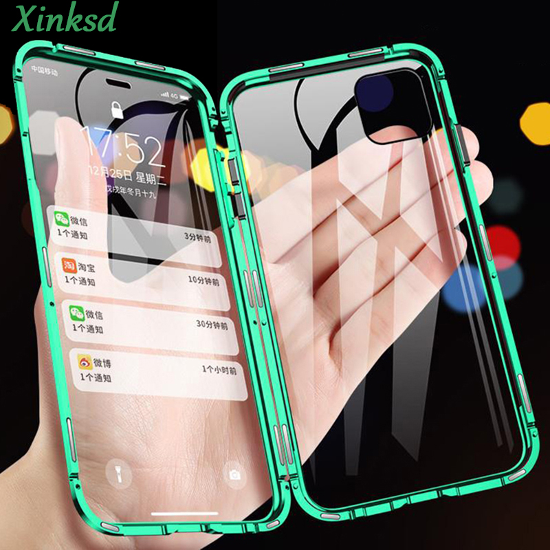 360 Metal Magnetic Phone Case For iPhone 11 Pro Max Case For iPhone XR X XS Max 8 7 6s 6 Plus Double Side Tempered Glass Cover