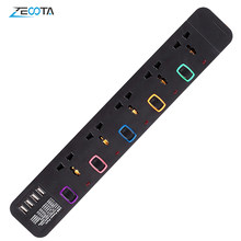Power Strip Surge Protector Multiprise Electrique Universal 5 Outlets USB Plug Socket Individual Switch 3m/9.8ft Extension Cord
