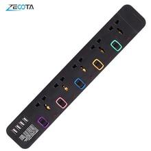Protector de sobretensión de tira de energía, cable de extensión de 3m/9,8 pies, enchufe USB Universal de 5 salidas, interruptor Individual
