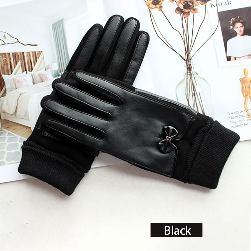 Winter Warm Cotton Knitted Driving Gloves Women's Fashion Touch Screen New Threaded Sleeves Windproof and Cold-Proof Finger