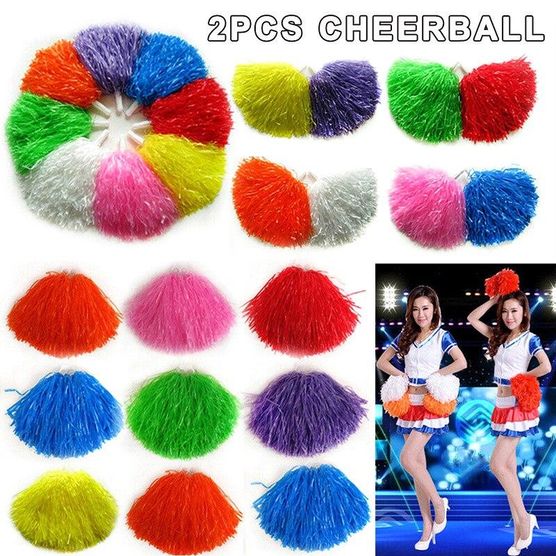 2pcs Girls Cheerleader Pom Poms Cheerleading Cheer Dance Party Club Decor H7JP
