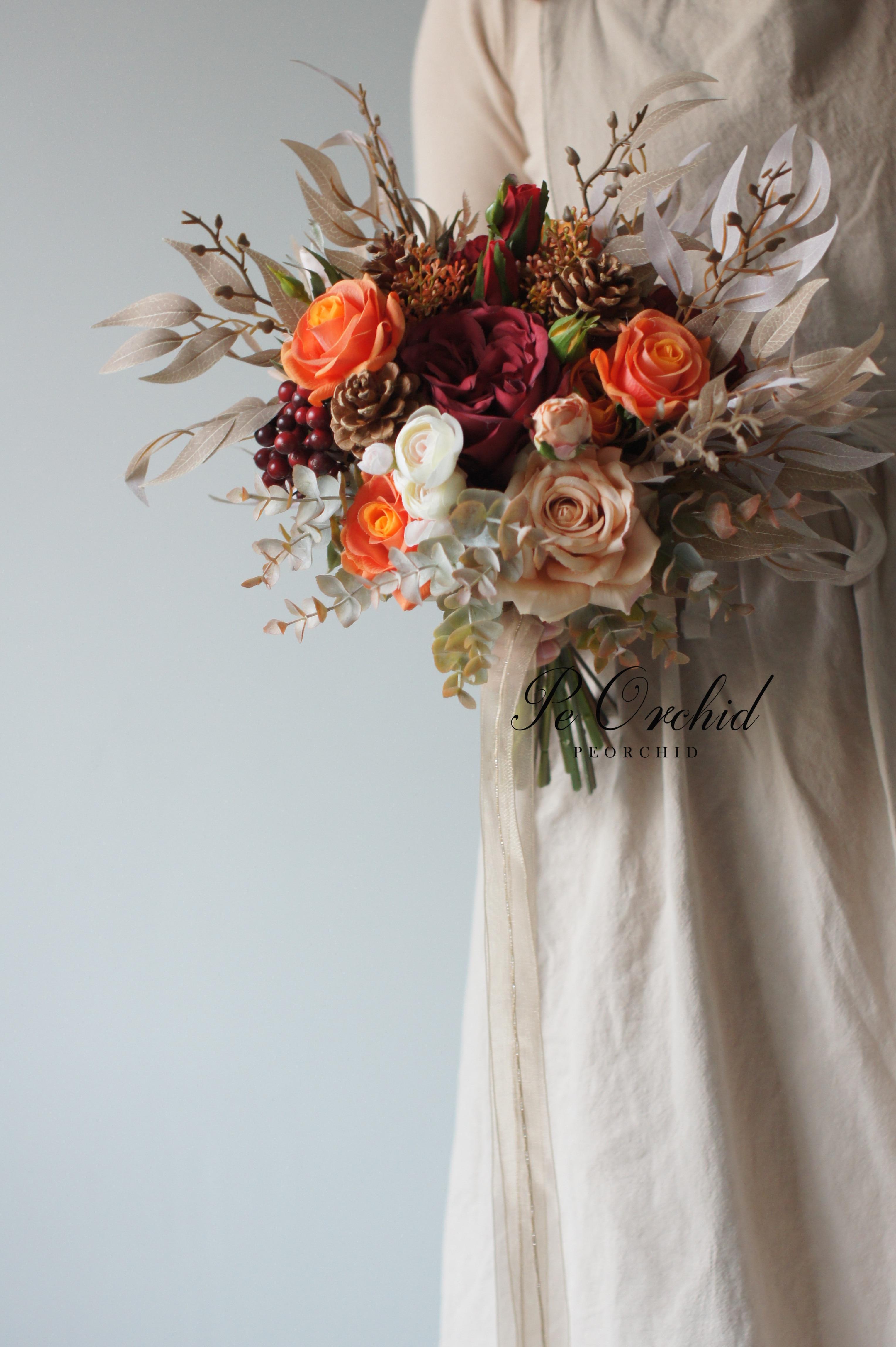 PEORCHID Artificial Orange Red Wedding Bouquets Roses Silk flower Bride Hand Bouquet Decoration Mariage