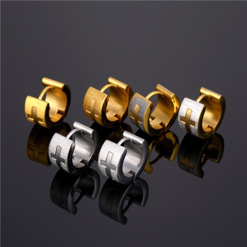 Personality 316L Stainless Steel Earrings Fashion Cross Dangle Drop Earrings Women Men's Earrings Punk Jewelry Hip Hop Jewelry