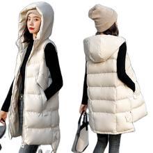 Gilet en Coton doux mi-long pour Femme, Veste Sans manches, Grande Taille, à la Mode, Automne Et Hiver, 2020