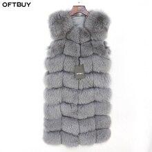 OFTBUY bayanlar bahar kış sonbahar uzun gerçek tilki kürk yelek ceket kadın kolsuz doğal Fox kürk jile Streetwear kalın sıcak