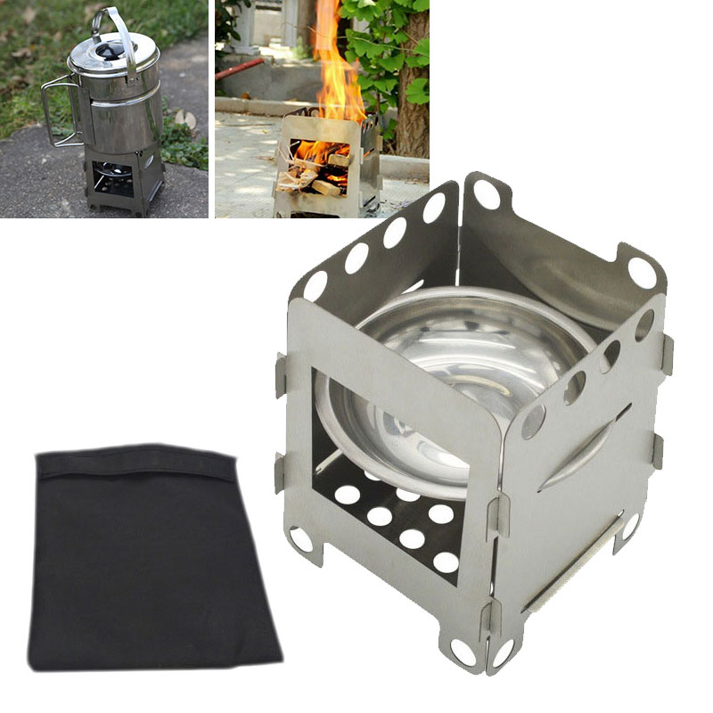 Folding Wood Stove Outdoor Alcohol Stove Stand Bracket Portable Picnic Cook BBQ Burners Titanium Stainless Steel Camping Stove