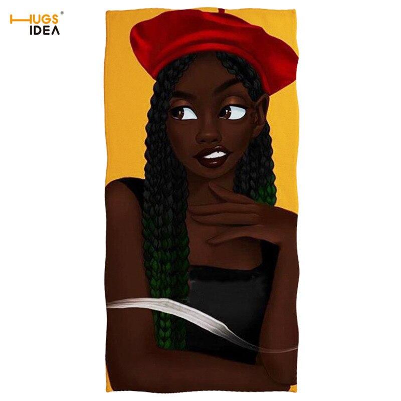 HUGSIDEA doux coton maison Textile serviette de bain beauté africaine Afro bouffées fille noire été serviettes de plage voyage Sport Yoga tapis 2019