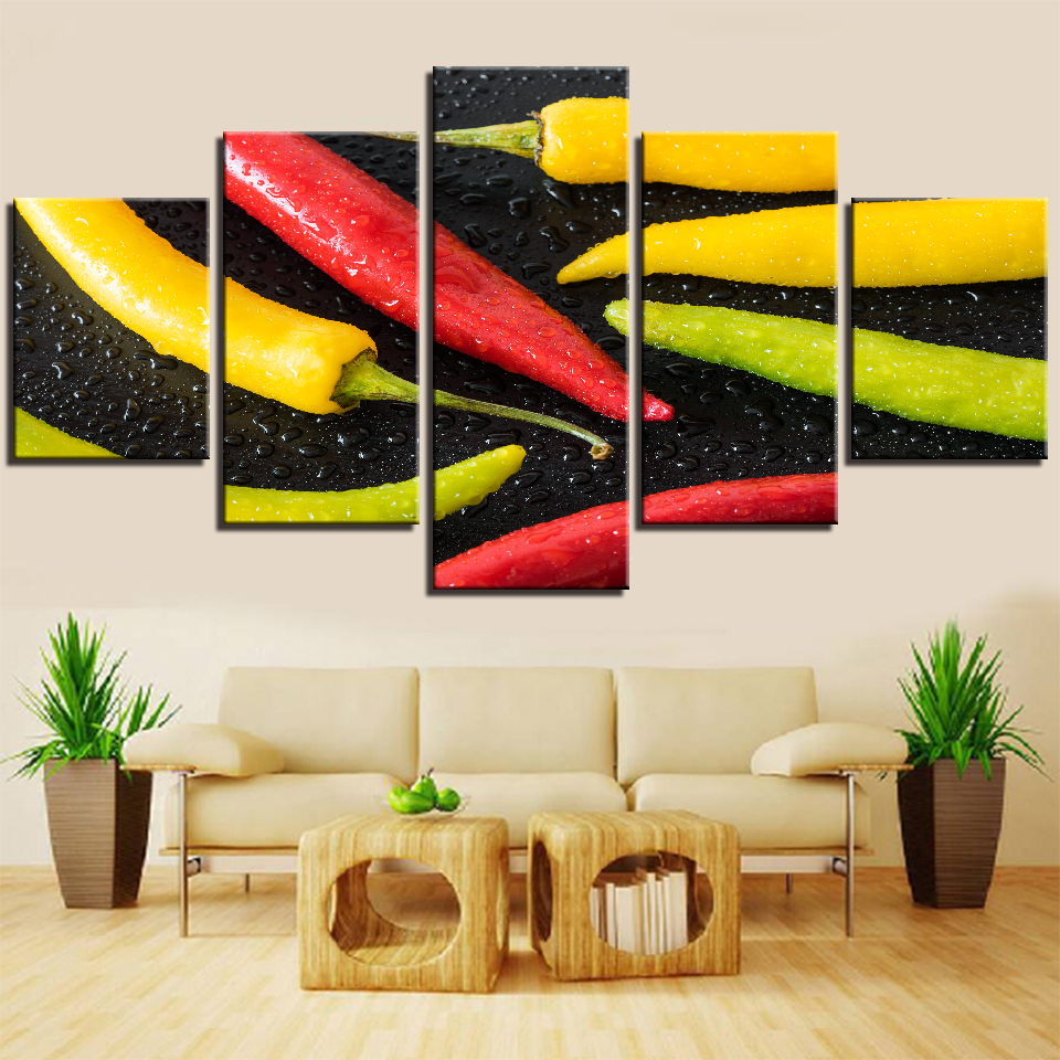 Home Decor Wall Art Posters 5 Panels Red Yellow Green Chilli Spices Peppers Canvas Painting Kitchen Modular Hd Food Pictures Calligraphy Aliexpress