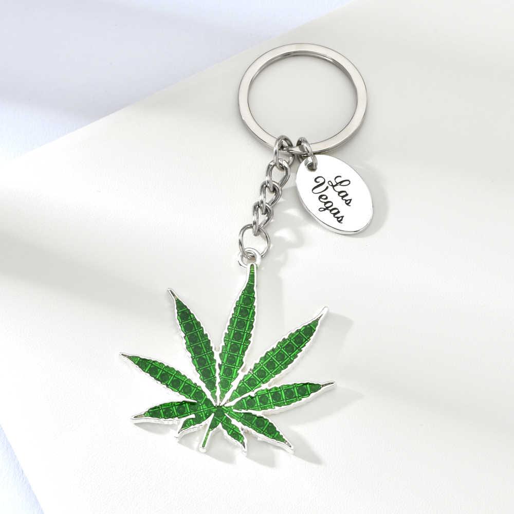 Vicney Las Vegas Blad Sleutelhanger Licht Groene Plant Key Ring Voor Vrouwen Man Zinklegering Auto Zak Zilveren Sleutelhanger sieraden Geschenken