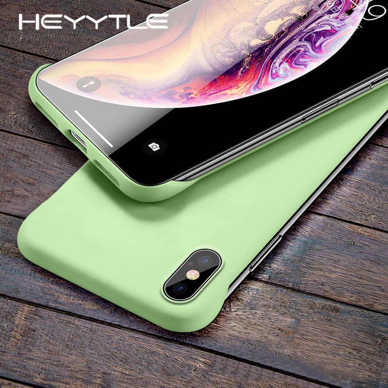 Heyytle 超薄型フレームレスケース iphone X XS 最大 XR 4 7 8 プラス 6 6S 無地カバーセンチメートルボーダレス Coque