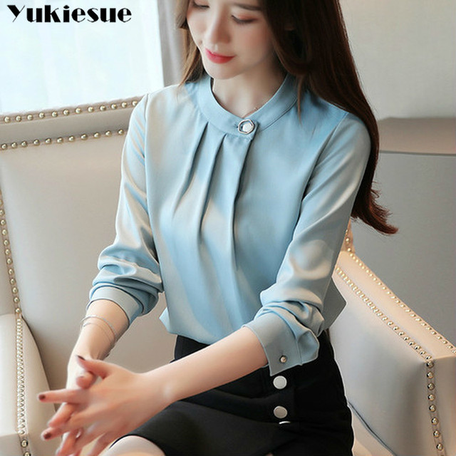 fashion womens tops and blouses stand collar office blouse women chiffon blouse shirt female long sleeve women shirts blusas 1