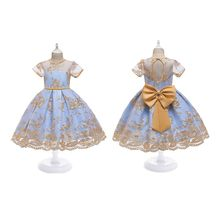 Kids Girls Short Sleeve Cutout Backless Floral Lace Applique Pageant Dress Gown Girls Dress floral nine points sleeve hollow lace dress