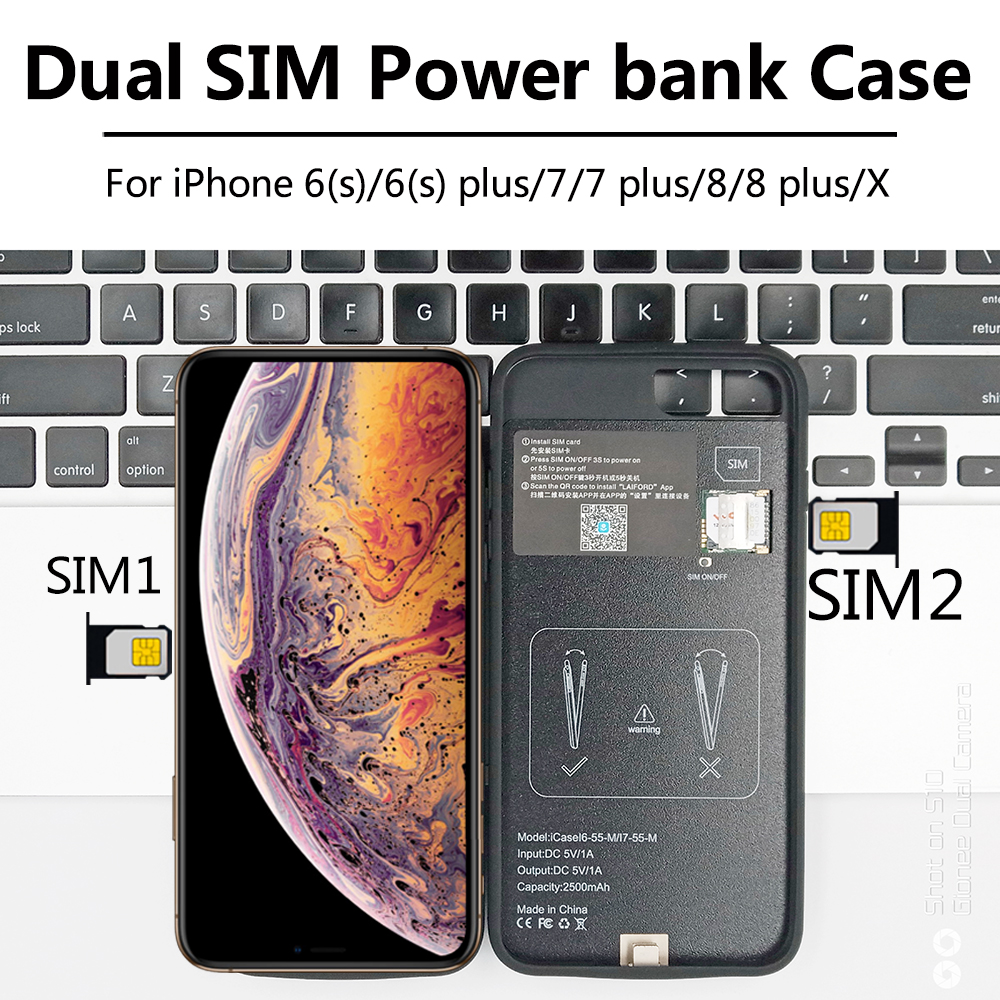 <font><b>Dual</b></font> <font><b>SIM</b></font> <font><b>Dual</b></font> Standby Adaper For <font><b>iPhone</b></font> 6/<font><b>7</b></font>/8 plus/X New Ultrathin Bluetooth Long Standby 7days with 1500/2500 mAh Power Bank image