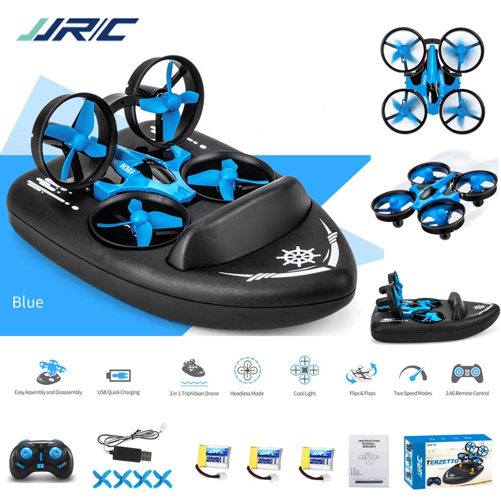 RC Boat Mini Drone JJRC H36F 3in1 helicopter car Quadcopter Vehicle Hovercraft Kids FPV Toys ufo pocket racing Drone