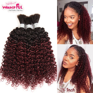 Brazilian Remy Kinky Curly Bulk Human Hair For Braiding 3/4 Bundle 10-30 Inch Omber Color Hair Extensions 1B/99J