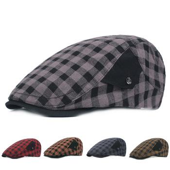 Plaid Beret damskie czapki z daszkiem czapki wędkarskie Topee młodzieżowe czapki czapki wędkarskie mężczyźni i kobiety czapki wędkarskie moda podróżna kapelusz tanie i dobre opinie JC-142 Parasolka COTTON