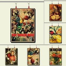 Japanses  anime One Punch Man Saitama Genos Vintage Paper Poster Wall Painting Home Decoration 42X30 CM 30X21 CM