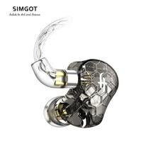 Simgot EK3 Hifi Hybrid Evenwichtige Oortelefoon In-Ear Monitor Oortelefoon Met Afneembare 2 Pin 0.78Mm Kabel