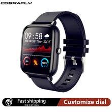 Cobrafly P6 Smartwatch erkekler kadınlar 1.54 inç ekran 20MM saatler Bluetooth çağrı IP67 su geçirmez nabız monitörü PK P8 P20 HW12
