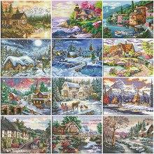 Huacan Kruissteek Huis Handwerken Sets Wit Canvas Diy Home Decoratie 14CT 40X50Cm Borduurwerk Landschap Kits