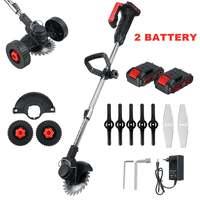 Cortacésped eléctrico potente inalámbrico, cortador de césped de doble rueda de longitud ajustable, herramientas de poda de jardín con batería de 1/2