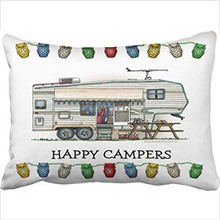 Funda de almohada decorativa tamaño de la Reina 20x30 pulgadas Cute Vintage Fifth Wheel Camper viaje remolque funda de almohada con oculto zipp