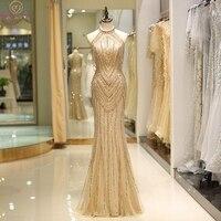 Vintage Gold Mermaid Evening Dresses Sleeveless Halter Neck Luxury Beaded Tassel Vestido De Gala Formal Party Prom Gowns 2020