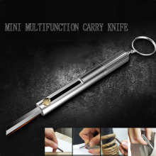 EDC multi-function key knife mini portable gadget magnesium rod flint whistle outdoor fire keychain self-defense knife