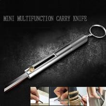 EDC multi-function key knife mini portable gadget magnesium rod flint whistle outdoor fire keychain self-defense knife