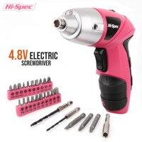 Hi-Spec-destornillador eléctrico inalámbrico de 4,8 V, Taladro Inalámbrico con batería, pistola destornillador, herramienta eléctrica con luz LED, color rosa
