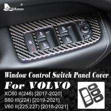 AIRSPEED for VOLVO XC60 S60 V60 Accessories 2018 2019 2020 Carbon Fiber Car Door Window Switch Panel Cover Sticker Interior Trim