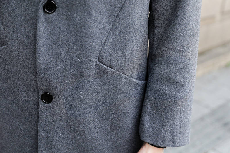 Autumn and winter woolen coat men's long lapels double-sided nylon coat men's wool woolen windbreaker no cashmere coat