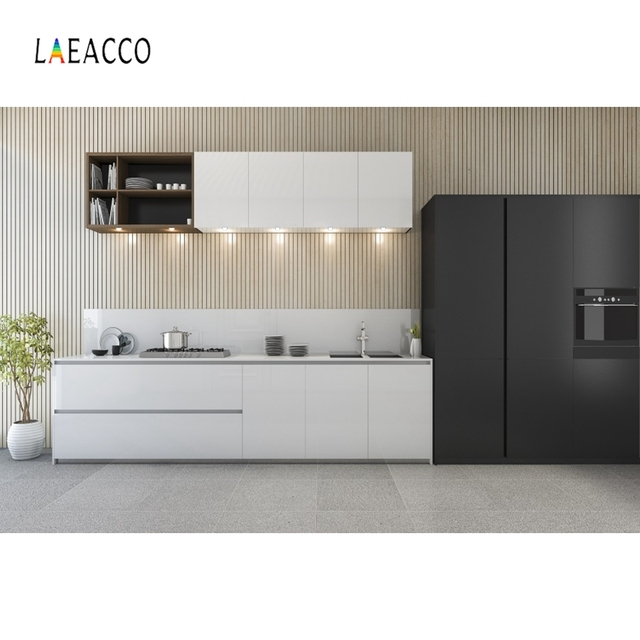 Laeacco Moderne Keuken Photophone Potplanten Kast Kookplaat Fotografie Achtergronden Interieur Decor Foto Achtergronden Photozone