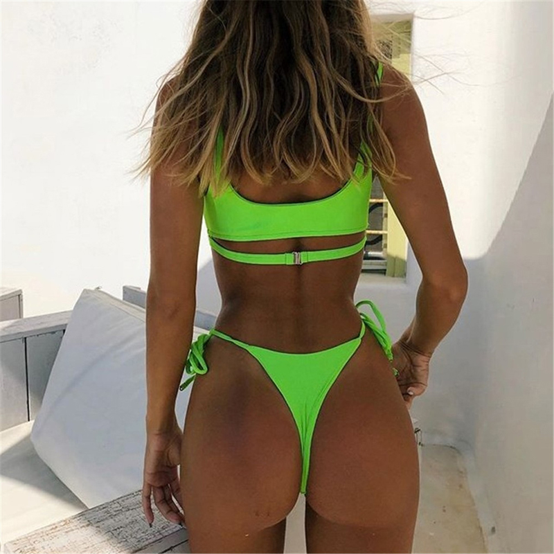 New Women Bikini 2019 Heart Thong Green Bathing Suits G String Bikini Swimwears Women Micro Underboob Swimsuit Cutout Halter Top-3