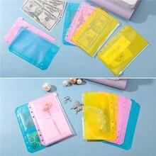 Pouches Storage-Bag Loose-Leaf-Accessories Zipper Decoration Color DIY A6 6-Hole 10PCS