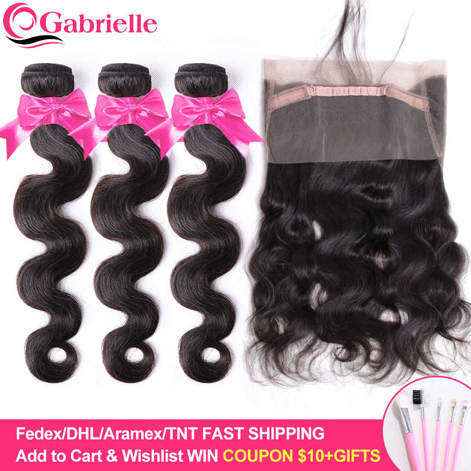 Gabrielle 360 Lace Frontal with Bundles Malaysian Human Hair Body Wave Bundles with Frontal Closure 100% Remy Hair Weaving