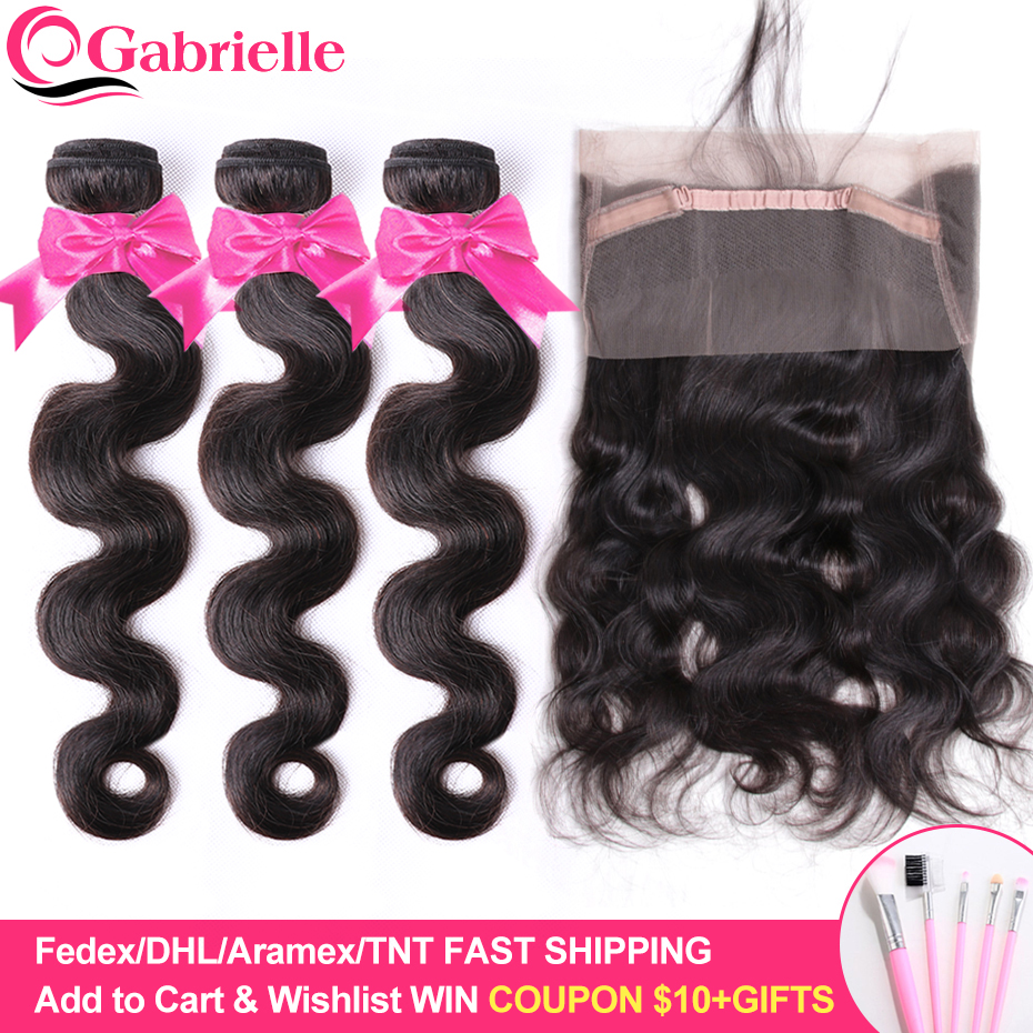 Gabrielle 360 Lace Frontal with Bundles Brazilian Human Hair Body Wave Bundles with Frontal Closure 100% Remy Hair Weaving-in 3/4 Bundles with Closure from Hair Extensions & Wigs