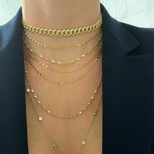 Image 1 - Top quality iced out hiphip bling wide Miami Curb Cuban link chain necklace for men women Rock CZ adjust slide cool choker chain