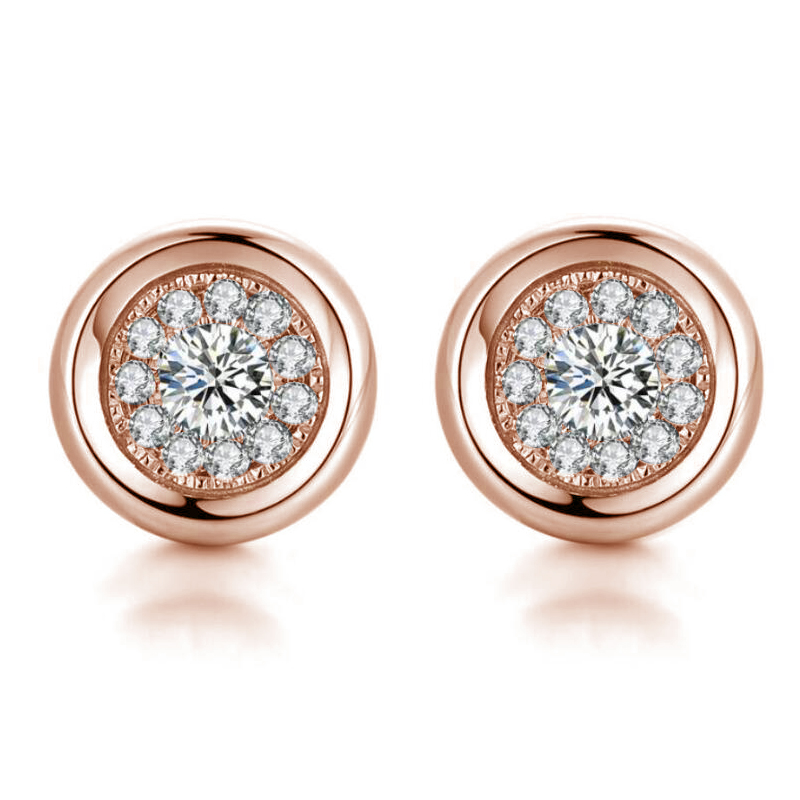 1 pairs Brilliant starry sky full of zircon round earrings silver and rose gold colors in Stud Earrings from Jewelry Accessories