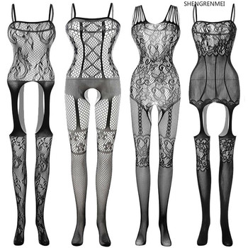 2020 New Jumpsuit Women Body Suit Stockings Erotic Open Crotch Teddy Sexy Lingerie Sleepwear Porno Nightwear Costumes - discount item  26% OFF Exotic Apparel
