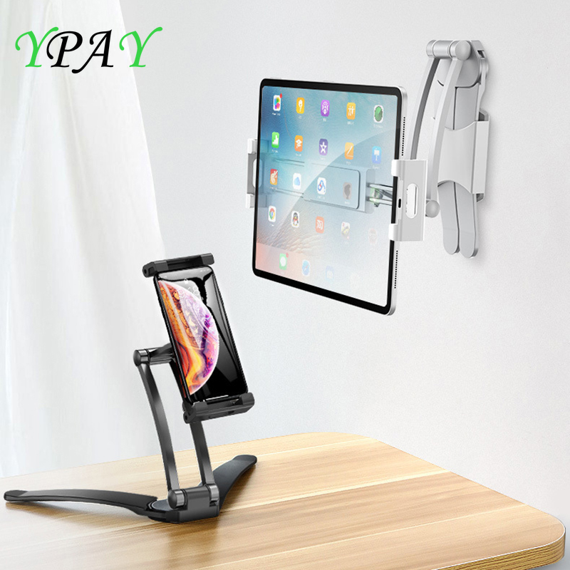 Aluminum Kitchen Desktop phone Tablet Holder Stand Flodable Adjustable 5-13 inch Tablet Phone Desktop Mount For iPad Pro 12 9