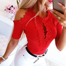 Vrouwen Lace Blouse Mode Korte Mouw Blouses Top Casual Off Shoulder Blouse Tops Womens Blouses En Tops Casual Dames Shirts(China)