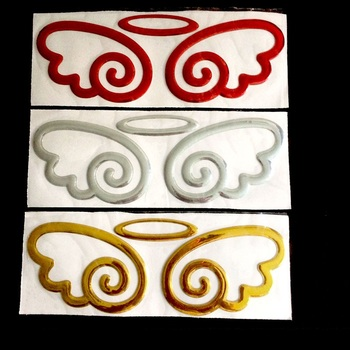 1pcs Free Shipping Cute angel wing Car Stickers Auto Emblem Logo Paper Decoration, Car LOGO Sticker image