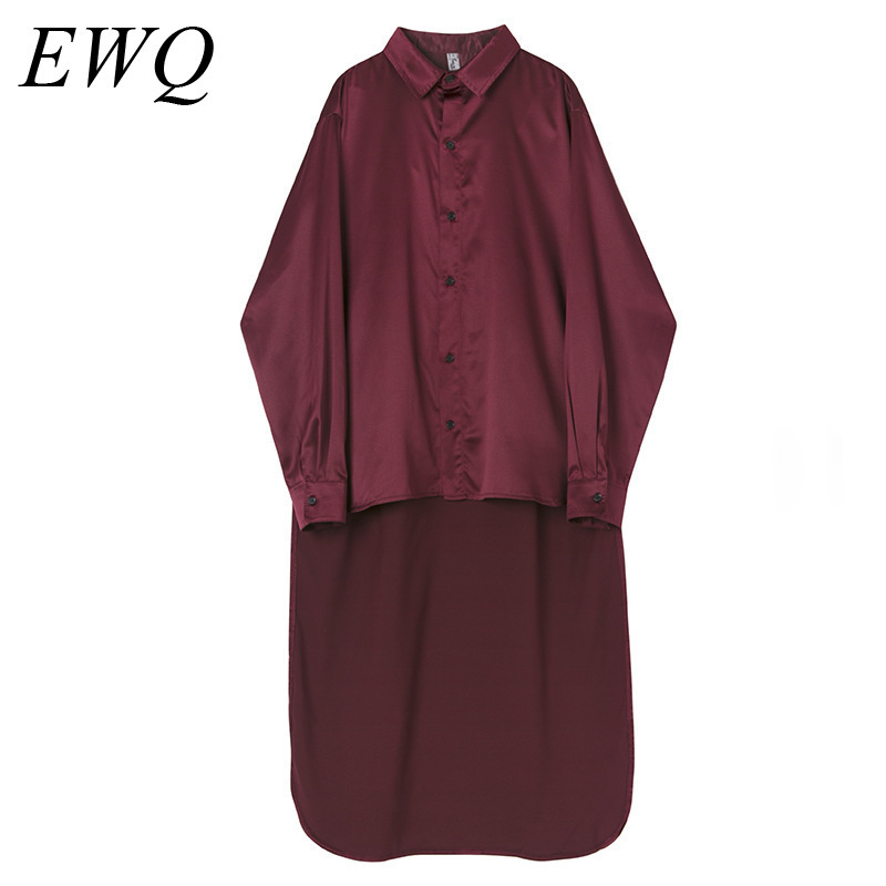 EWQ 2020 New Spring Men Long Sleeve Patchwork Shirt Vintage Casual Loose Slim Solid Turn-down Collar Blouse Male Shirt HD635