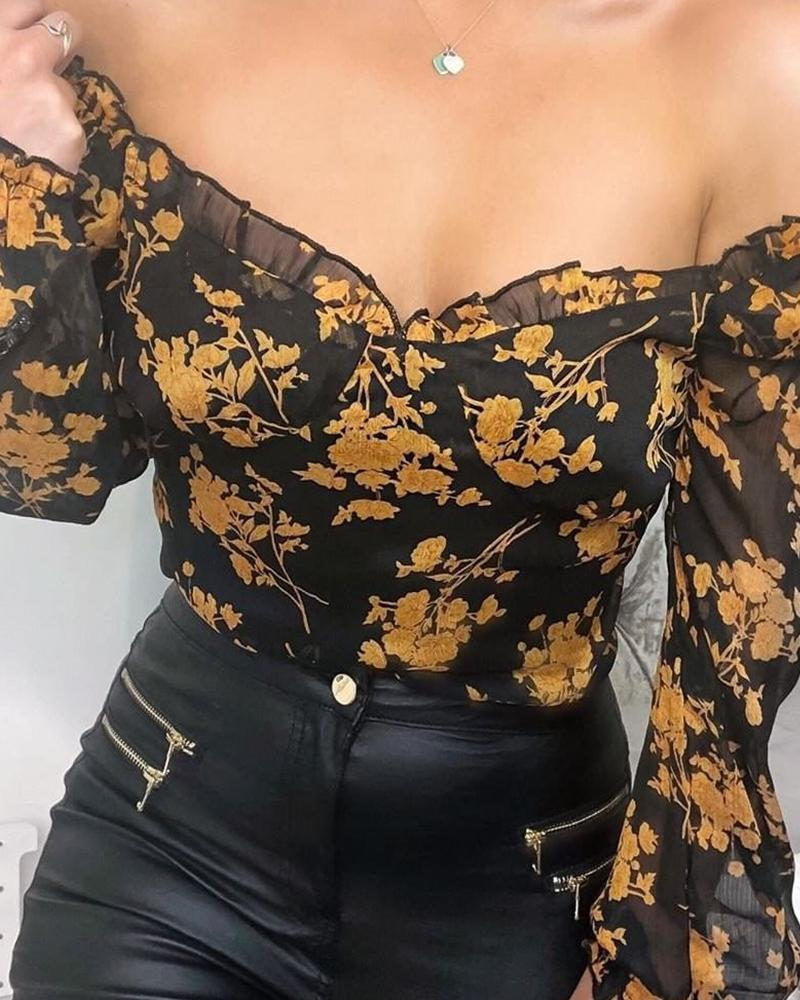 2020 Spring Fashion Casual Women Blouse Stylish Long Sleeve Elegant Ruffle Girls Shirt Off The Shoulder Floral Top