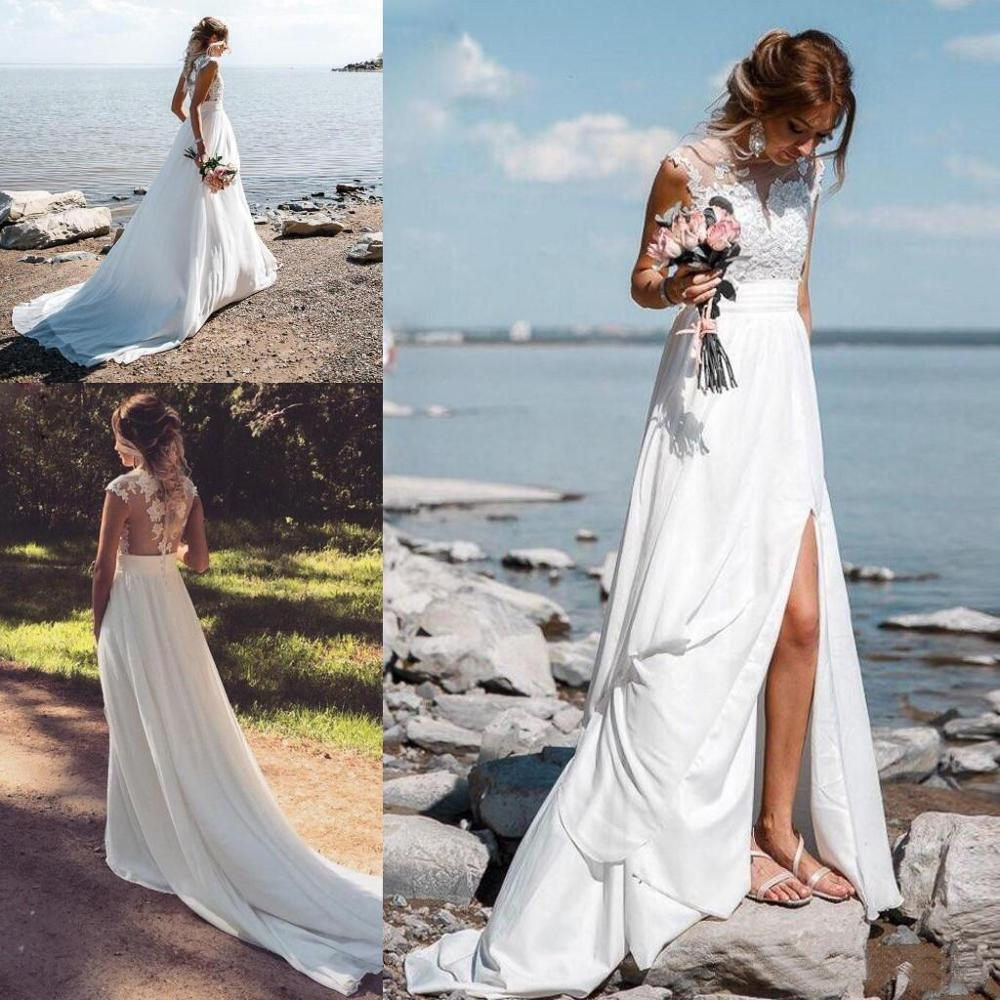 Vestido De Noiva Chiffon Beach Wedding Dresses 2020 See Through Back Boho Wedding Gown Appliques Split Country Bridal Gown