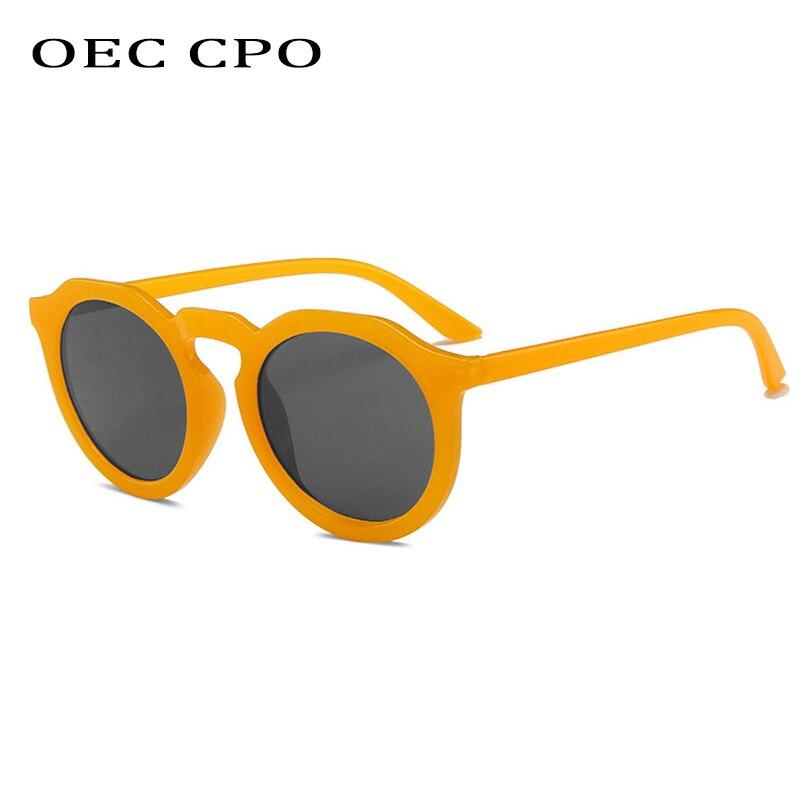 OEC CPO-gafas De Sol redondas para mujer, anteojos De Sol femeninos, De marca De diseñador, a la moda, color Naranja, con UV400