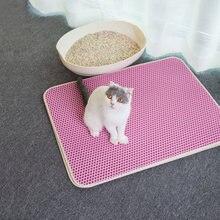 Su geçirmez Pet kedi kumu matı yatak ev katlanabilir EVA çift katmanlı kediler Mat alt kaymaz Mat katmanlı Pet çöp tutucu Mat